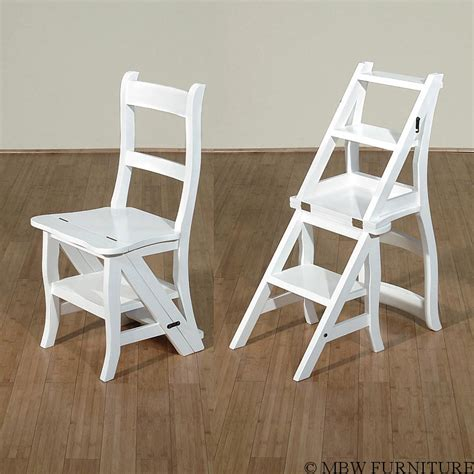 Convertible Step Stool white convertible ladder chair library step stool a113a w