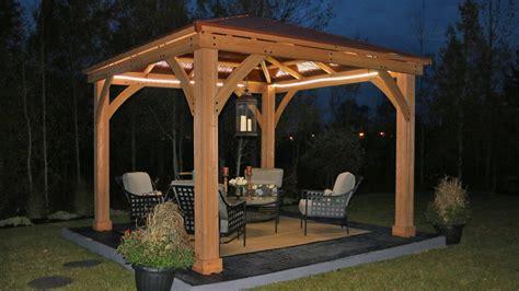 meridian    wood gazebo  aluminum roof yardistry