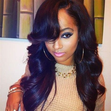 bang hairstyle with brazilian hair swoop bangs with weave www imgkid com the image kid