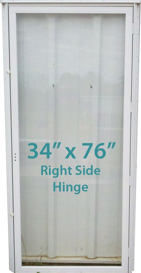 mobile home all glass door 34x76 rh white with screen