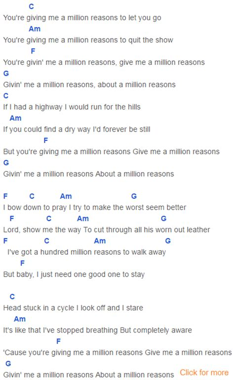 one in a million testo million reasons chords gaga gaga