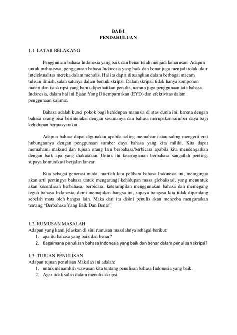 format makalah bab 2 penggunaan eyd dalam penulisan skripsi