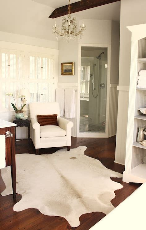 cowhide rug bathroom cottage bathroom benjamin horizon for the of a house
