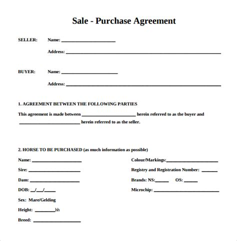 sale and purchase agreement or contract letter template