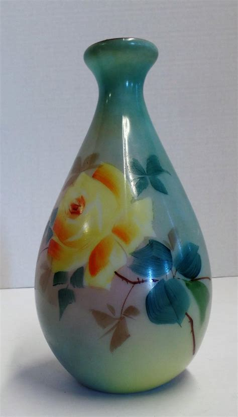 colored glass vases vintage 8 quot colored glass vase with floral design that is bea
