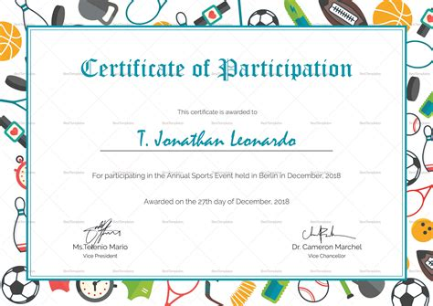 sport certificate templates for word sports participation certificate design template in psd word