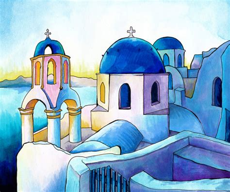 paint with a twist greece items similar to mykonos greece print copic marker and
