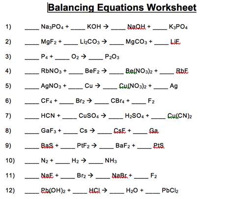 wonderful balancing equations worksheet balancing chemical