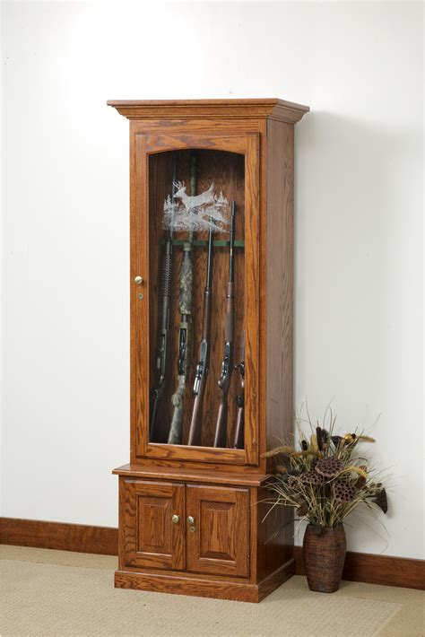 wood gun cabinet with etched glass amish gun cabinets oak cherry maple gun cabinets