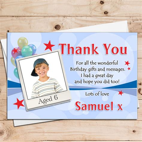 Boy Birthday Thank You Cards 10 Personalised Boys Birthday Party Thankyou Photo Cards N21