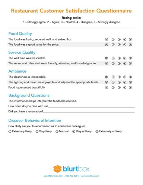 restaurant questionnaire template customer satisfaction survey template for restaurant owners