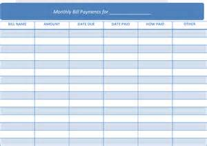 Monthly Bill Calendar Template by Printable Monthly Bill Calendar Calendar Template 2016