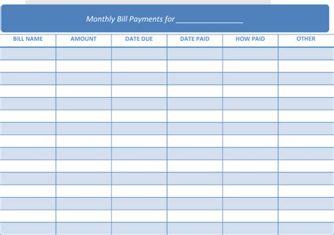 monthly payment calendar template bills due calendar new calendar template site