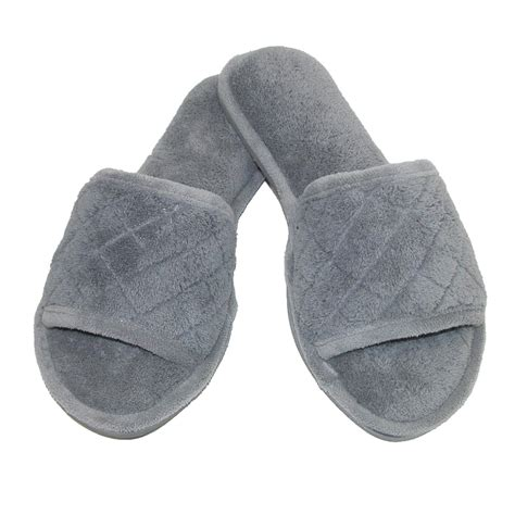 open toed slippers womens microfiber open toe terry slide slippers by
