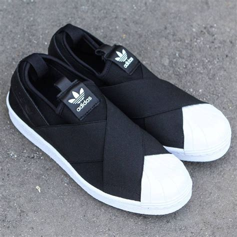 Adidas Slop Black adidas superstar slip on black black footwear white