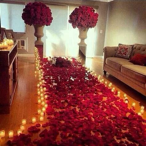 romantic candles rose petal walkway inspiring ideas