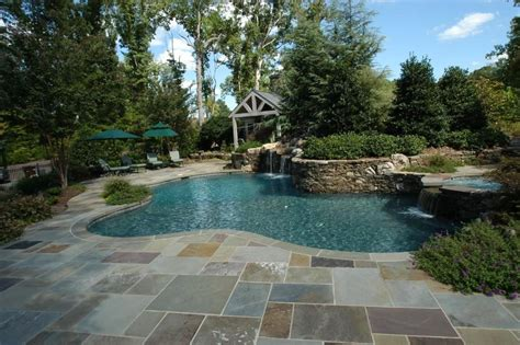 stone pool deck stone decking around pools modern diy art designs