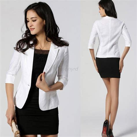 Korean Women Short Sleeve Blazer | korean ol women slim fitted one button short blazer coat