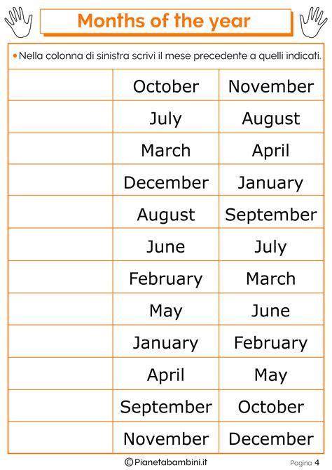 ingresso traduzione inglese i mesi in inglese per bambini schede didattiche da