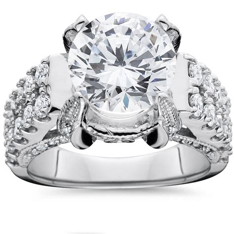 4 50 carat large enhanced engagement ring 14k