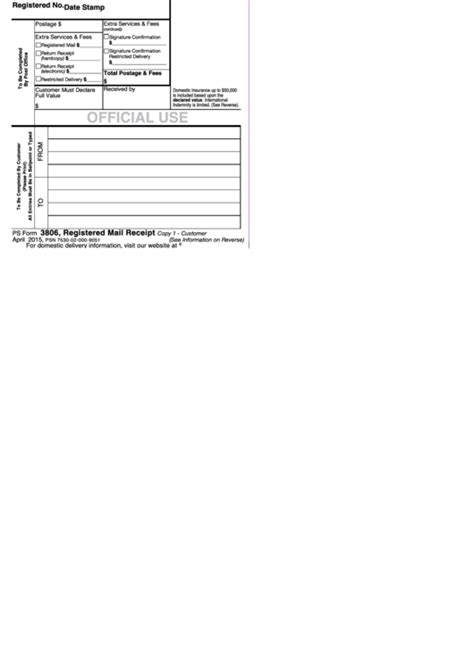 Mail Receipt Template by Ps Form 3806 Registered Mail Receipt Template Printable