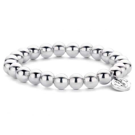 silver bead bracelet uk ti sento 8mm silver bead bracelet jewellery from francis