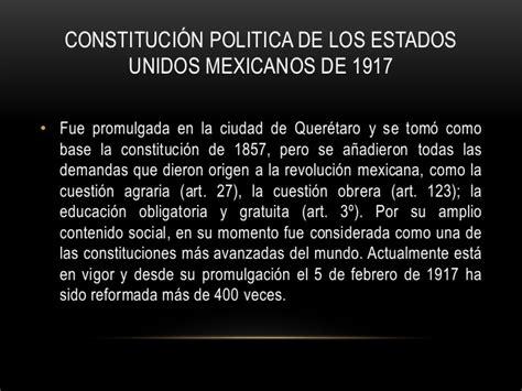 1917 constituci n pol tica de los estados unidos mexicanos historia del constitucionalismo