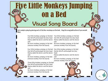 five little monkeys jumping on the bed song five little monkeys jumping on the bed visual song board
