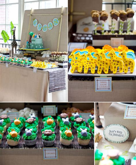 1st birthday jungle theme decorations safari one animal jungle themed birthday via