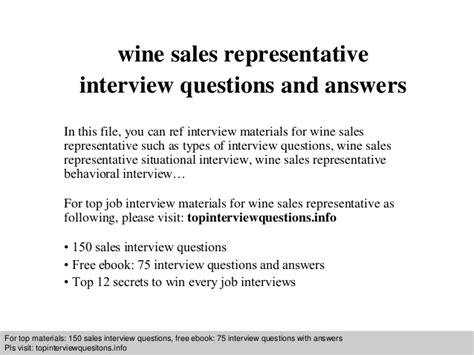 wine sales representative questions and answers