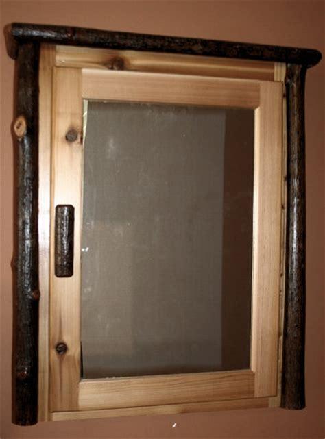 rustic hickory log medicine cabinet � barn wood furniture