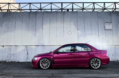 purple mitsubishi lancer purple pink kandy evo from december issue of super street