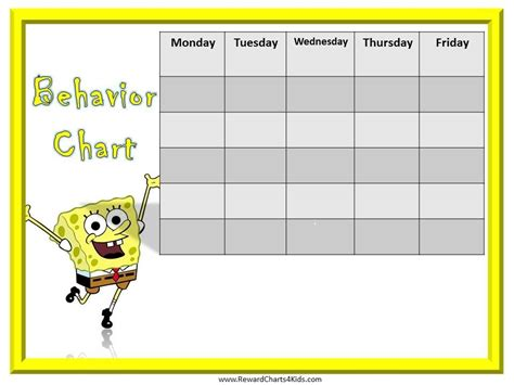 printable reward charts for good behavior spongebob behavior charts