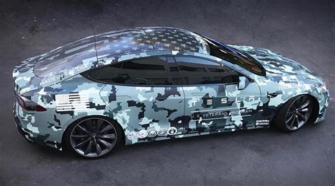 camo wrapped tesla honored veterans on memorial day with custom wrapped