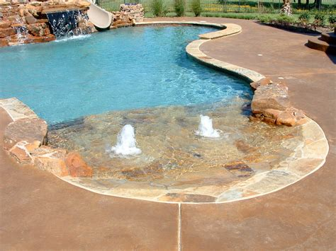 Swimming Pool Custom Features Beach Entry Slide Bench Entry Swimming Pool Designs