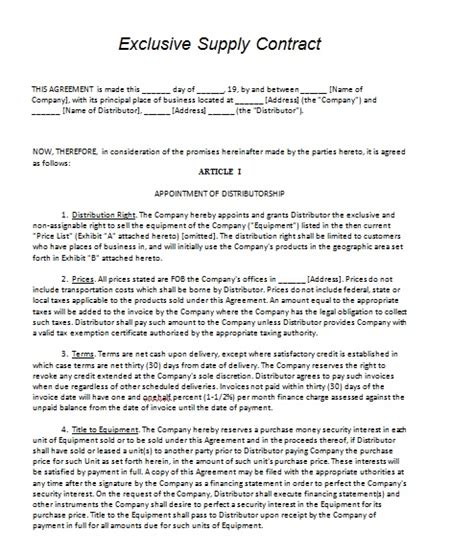 Letter Of Agreement For Supplier Supply Contract Template Contract Agreements Formats Exles