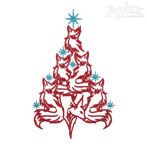 fox christmas tree embroidery design