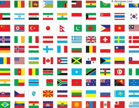 4 designer 100 world countries flags vector