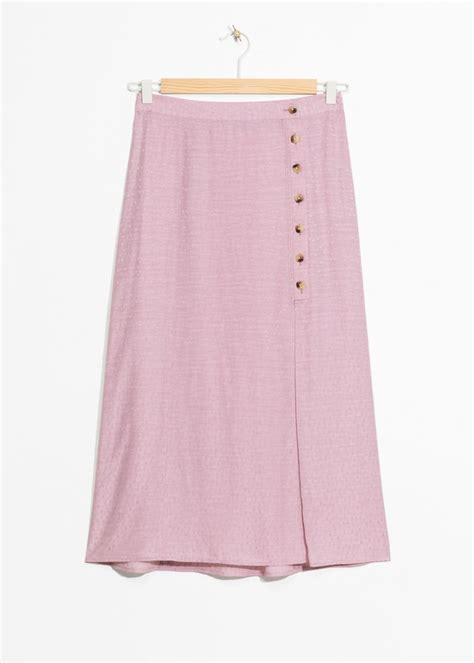 Button Side Asymmetrical Skirt asymmetrical button midi skirt endource