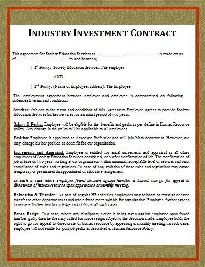 investor contract template free free word templates part 2
