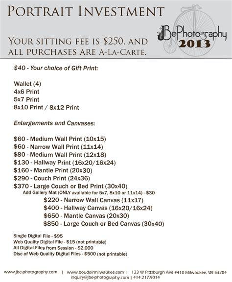 Portrait Photography Pricing by Portrait Print Pricing Jenniferbrindleyphotography