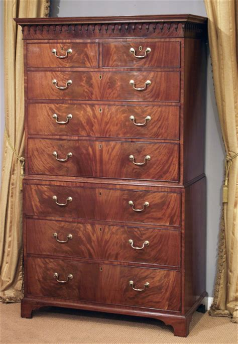 Antique flame mahogany chest on chest / Georgian tallboy