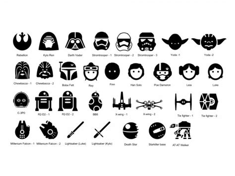 Wall Decors star wars icons personalized vinyl wall decal