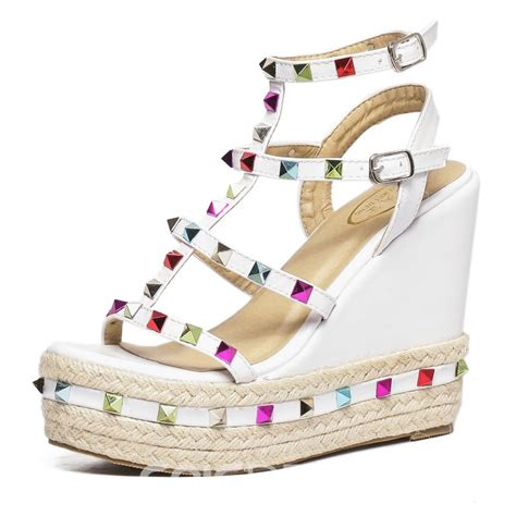 colorful wedge sandals ericdress colorful rivets wedge sandals 11988997
