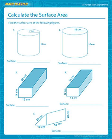 Surface Area Worksheet 7th Grade