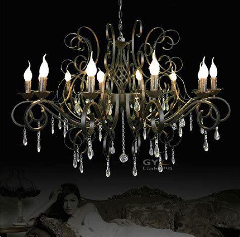 Wrought Iron Chandeliers With Crystals Modern Wrought Iron Light Crystal Chandelier Hanging