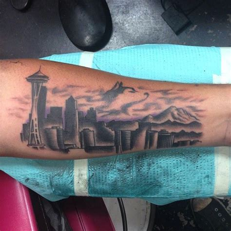seattle skyline tattoo by ash tattooer ash pinterest