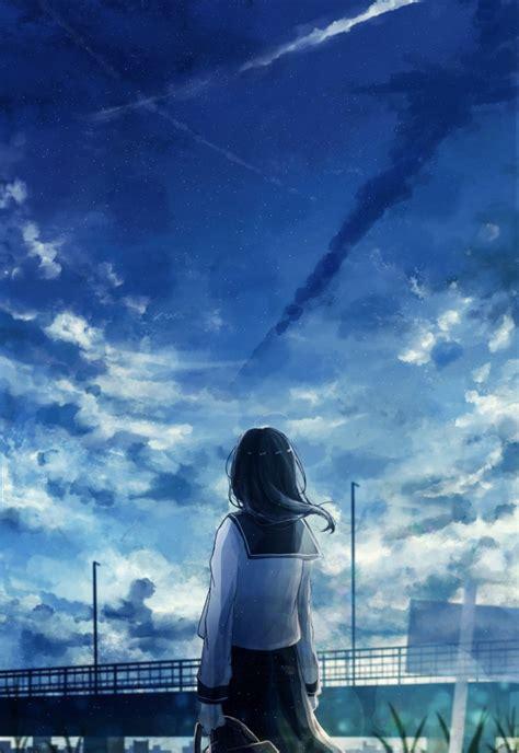 wallpaper anime landscape school girl  view clouds