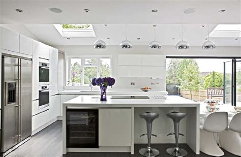 kitchens archives stylish livable spaces an enormous white modern kitchen and living space