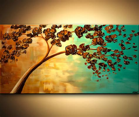 acrylic painting with knife stunning colors modern abstract 48x24 acrylic painting